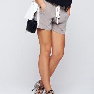 Pantalon scurt PrettyGirl gri casual cu elastic in talie cu buzunare - Pantaloni scurti -