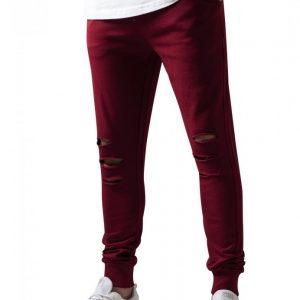 Pantaloni casual cu taieturi la genunchi rosu burgundy Urban Classics - Pantaloni trening - Urban Classics>Barbati>Pantaloni trening