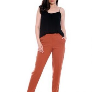 Pantaloni conici caramizii din stofa AM-60415 - Outlet -