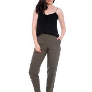 Pantaloni conici kaki din stofa AM-60414 - Outlet -