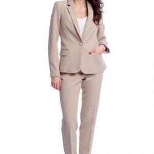 Pantaloni office cu buzunare laterale AM-21611404 crem - Outlet -