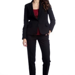 Pantaloni office cu buzunare laterale AM-21611407 negru - Outlet -