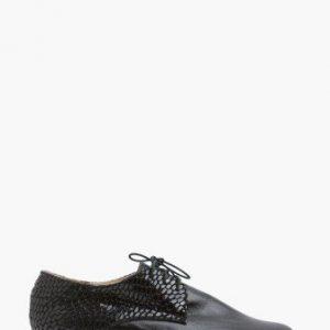 Pantofi Oxford negri cu snake print din piele naturala CB040 - Pantofi oxford -