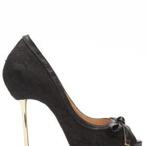Pantofi cu fundita si toc auriu Negru - Incaltaminte - Incaltaminte / Pantofi cu toc