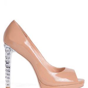 Pantofi cu toc decorat cu pietre Bej - Incaltaminte - Incaltaminte / Pantofi cu toc