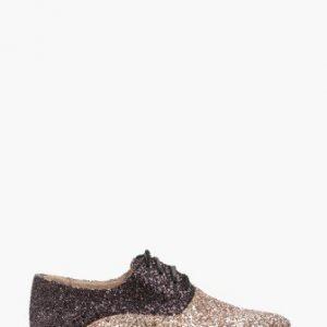 Pantofi oxford din piele naturala cu glitter aplicat CB017 auriu-gri - Pantofi oxford -