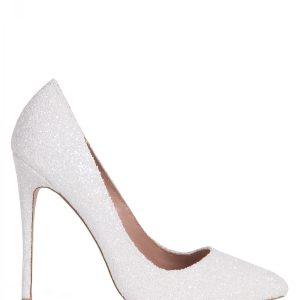 Pantofi stiletto cu glitter alb Alb - Incaltaminte - Incaltaminte / Pantofi cu toc