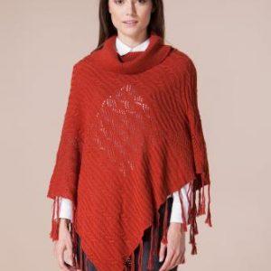 Poncho caramiziu din tricot 4387 - Poncho -
