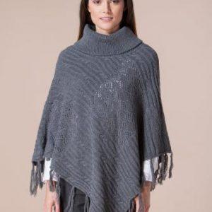 Poncho gri din tricot 4387 - Poncho -