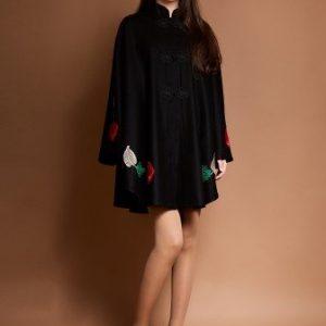 Poncho negru cu aplicatii multicolore IRINA-N - Poncho -