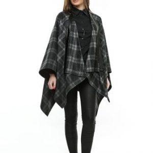 Poncho negru din lana in carouri PO01B - Poncho -