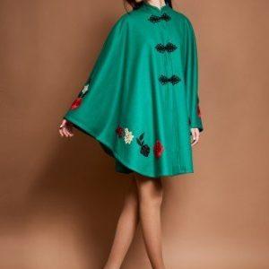 Poncho verde cu aplicatii multicolore IRINA-V - Poncho -
