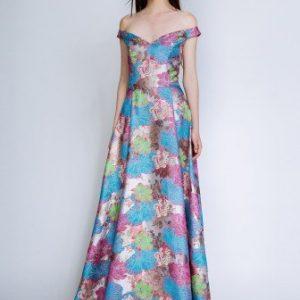 Rochie lunga din matase cu imprimeu multicolor MATASE - Rochii de ocazie -