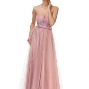 Rochie lunga roz de seara din tull fara maneci JLPPDALIA - Rochii de ocazie -
