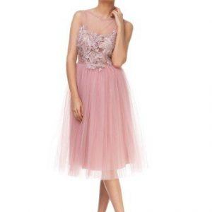 Rochie roz de ocazie din tull cu broderie florala JSPFLOWER-P - Rochii de ocazie -