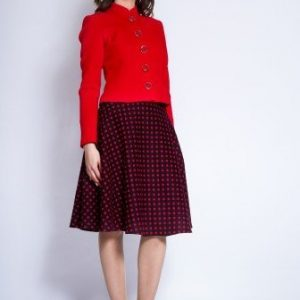 Sacou din stofa cu guler tunica ROVANA rosu - Sacouri -
