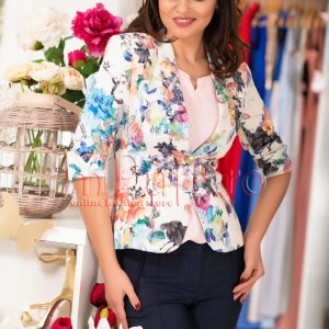 Sacou elegant cu imprimeu floral albastru - SACOURI -