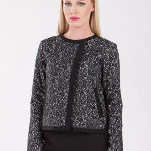 Sacou negru cu crem din stofa de lana D2104 - Sacouri -