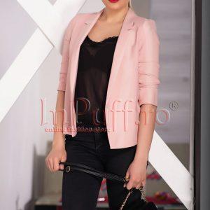Sacou roz pal de dama cu maneca trei sferturi - SACOURI -