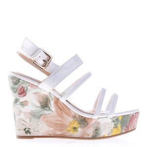 Sandale dama cu platforma FE401 albe - Sandale cu Platforma - Sandale cu Platforma