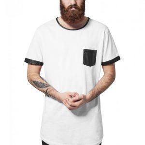 Tricou lung cu buzunar imitatie piele alb-negru Urban Classics - Tricouri lungi - Urban Classics>Barbati>Tricouri lungi