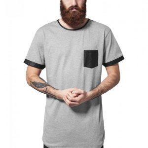 Tricou lung cu buzunar imitatie piele gri-negru Urban Classics - Tricouri lungi - Urban Classics>Barbati>Tricouri lungi