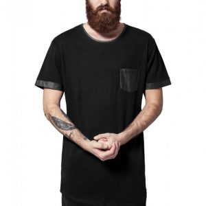 Tricou lung cu buzunar imitatie piele negru-negru Urban Classics - Tricouri lungi - Urban Classics>Barbati>Tricouri lungi