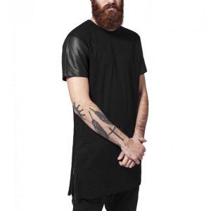 Tricou lung cu maneci piele ecologica - Tricouri lungi - Urban Classics>Barbati>Tricouri lungi