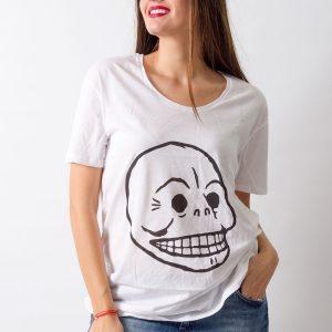 Tricou Cheap Monday Skull alb - FEMEI - TRICOURI DE DAMA